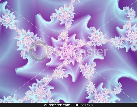 Coral Spiral stock photo, Digital abstract image with a spiral design in blue, and pink. by Colin Forrest