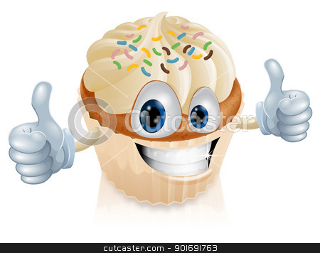 Fairy cake character illustration stock vector clipart, Illustration of a fun fairy cake character giving a thumbs up by Christos Georghiou