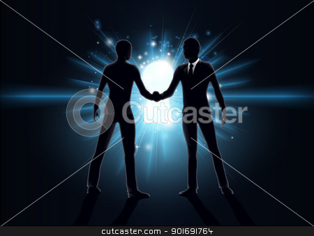 Business opportunity concept stock vector clipart, Business opportunity concept, business men shaking hands with keyhole in the background  by Christos Georghiou