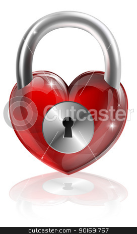Locked heart concept stock vector clipart, A locked heart concept graphic. Could be about needing to find love, locking feelings away or other interpretations. by Christos Georghiou