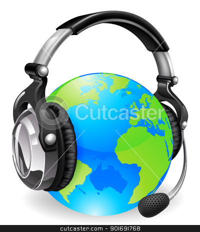 Help desk headset world globe stock vector clipart, Help desk headset world globe. Concept for online chat or telephone support. by Christos Georghiou