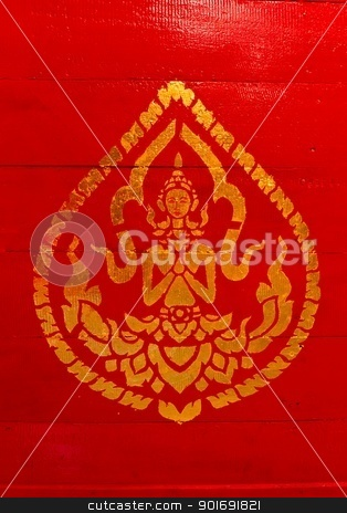 Painting Of Deity On The Red Wood stock photo,  by pattarastock