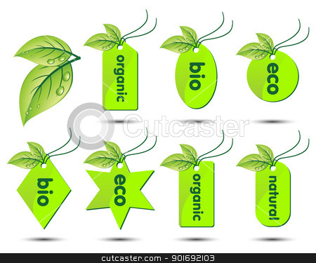 Vector collection of ecological stickers stock vector clipart, Vector collection of ecological stickers isolatedon white background by kurkalukas