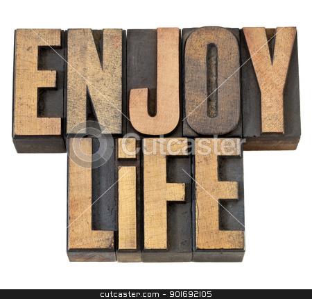 enjoy life in wood type stock photo, enjoy life - isolated text in vintage letterpress wood type by Marek Uliasz