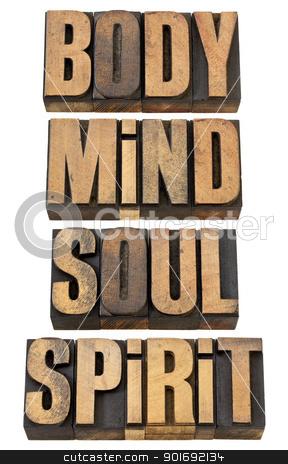body, mind, soull and spirit in wood type stock photo, body, mind, soul and spirit - a collage of isolated words in vintage letterpress wood type by Marek Uliasz