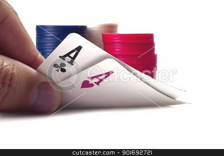 Poker stock photo, Game in poker, a hand holds cards isolated on a white background by Aleksandr Davydov