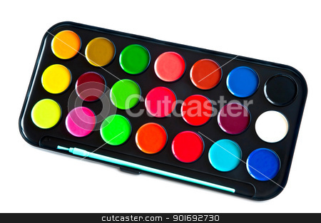 Colors paints stock photo, Colors paints in a black case isolated a white background by Aleksandr Davydov