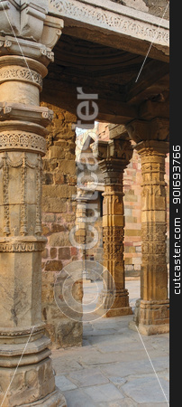 Qutb Minar stock photo, detail of the historic tower near Delhi in India named Qutb Minar by prill