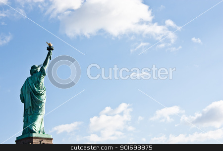 Statue of Liberty stock photo, Sunnny day, blue sky with clouds: statue of Liberty with copy space by Perseomedusa