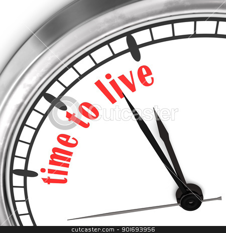 Time To Live stock photo, A clock with the text