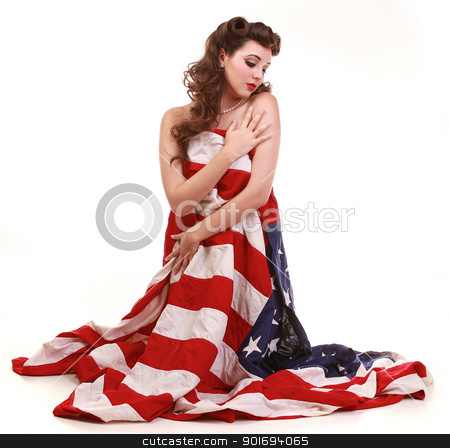 Beautiful Brunette  Pin Up Style Girl in Studio stock photo, Sexy  Pin Up Style Girl in Studio by Katrina Brown