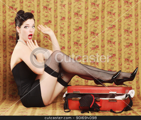 Pinup Style Vintage Sexy Image stock photo, Sexy Pinup Style Vintage Image by Katrina Brown
