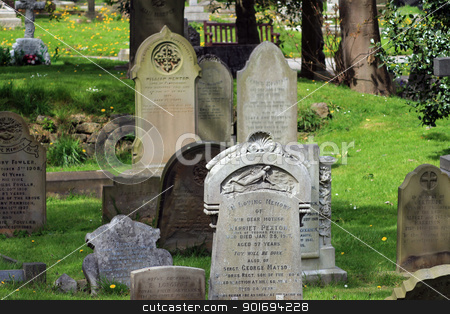 Old Victorian gravestones stock photo, Old Victorian gravestones in cemetery, summer scene. by Martin Crowdy