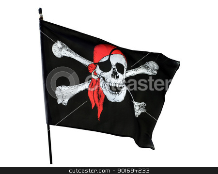Pirate flag stock photo, Skull and cross bones pirate flag isolated on white background by Martin Crowdy