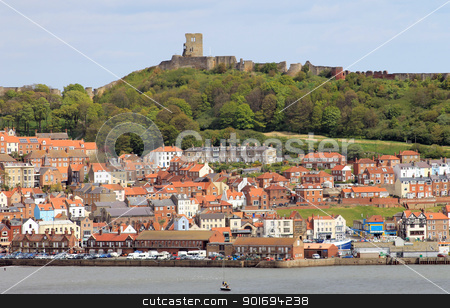 Scarborough castle and harbor stock photo, Scarborough castle and harbor, North Yorkshire, England by Martin Crowdy