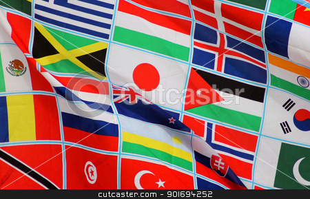 World flags background stock photo, Background of world flags blowing in the wind by Martin Crowdy
