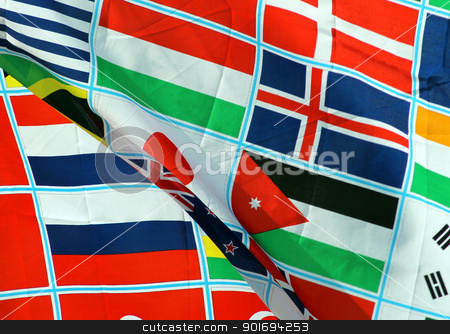 World flags stock photo, Background of world flags blowing in the wind by Martin Crowdy