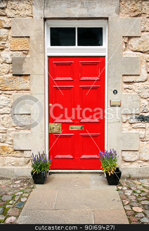Red door stock photo, Red door, exterior of a house.  by Juliet Photography