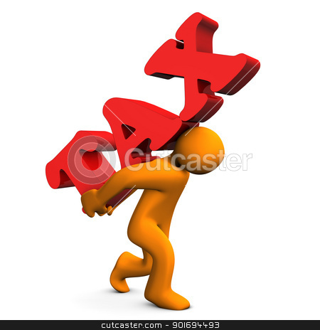 Tax Stress stock photo, Orange cartoon character with a big text