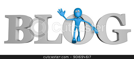 blogger stock photo, blue guy and the word blog - 3d illustration by J?
