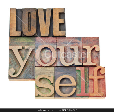 love yourself in wood type stock photo, love yourself - self esteem concept - isolated text in vintage letterpress wood type by Marek Uliasz