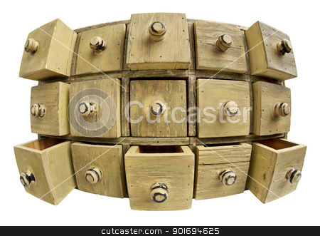 data storage concept - drawer cabinet stock photo, data storage concept - 15 drawers of a primitive wooden apothecary cabinet in distorted fish eye lens perspective by Marek Uliasz