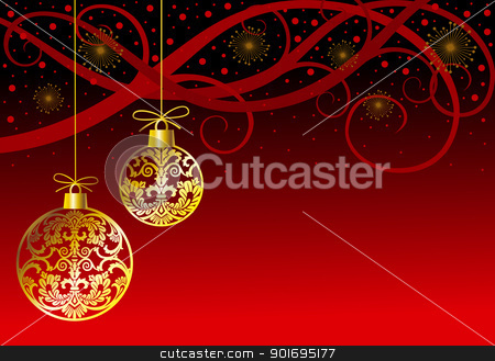 Christmas ornaments balls on red stock vector clipart, Hanging christmas white balls silhouettes in retro style with ornaments on red background, full scalable vector illustration by Ela Kwasniewski
