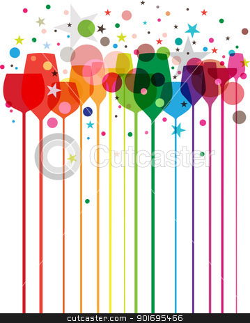 Colorful Party Drinks stock vector clipart, A beautiful composition of alcohol drink glasses with decorations in various colors by HypnoCreative