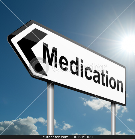 Medication concept. stock photo, Illustration depicting a road traffic sign with a medication concept. Blue sky background. by Samantha Craddock