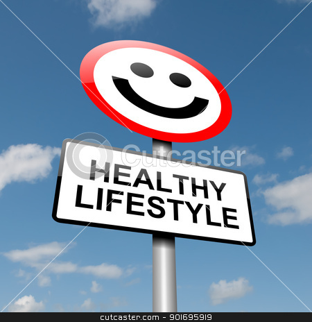 Healthy lifestyle concept. stock photo, Illustration depicting a road traffic sign with a healthy lifestyle concept. Blue sky background. by Samantha Craddock