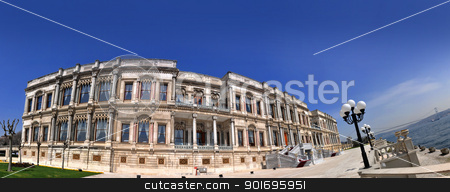 Panorama of the raan Palace  stock photo, A wide-angle panorama of the famous Ottoman Palace and a hotel of the present-day raan Palace by the Bosphorus, facing the Bosphorus Bridge by HypnoCreative