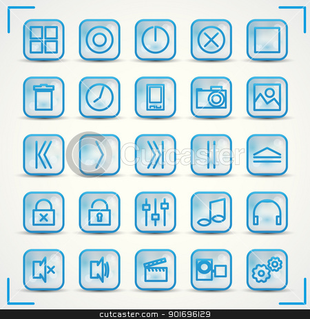 icons 2 stock vector clipart, Blue icons set for audio and computer by Miroslava Hlavacova
