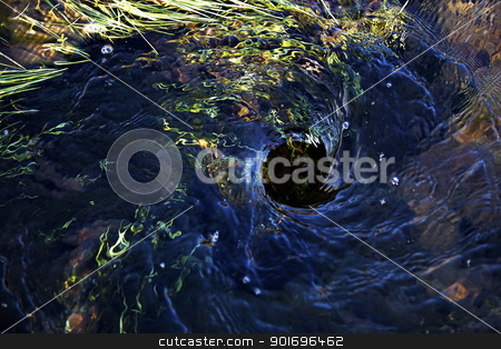 Icelandic vortex stock photo, Blue water swirling down a hole in the ground by Kjersti Jorgensen