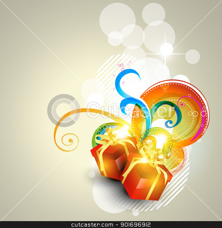 vector gift box stock vector clipart, vector gift box stylish glowing background by pinnacleanimates