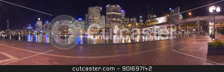 Darling Harbour in Sydney stock photo, darling harbour at night panorama photo, light reflections by Robert Remen