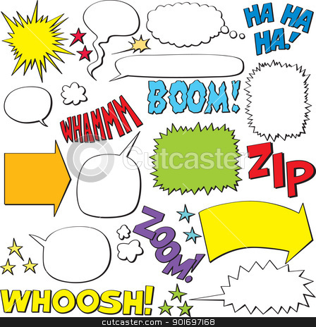 Speech Bubbles stock vector clipart, Set of comic speech balloons and elements  by nahhan