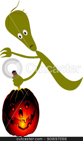 ghost and pumpkin stock vector clipart, Illustration of the ghodt with pumpkin - vector by Siloto