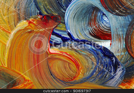 run colors - craftsmanship stock photo, Extreme closeup of strokes of the brush - run colors - craftsmanship by Siloto