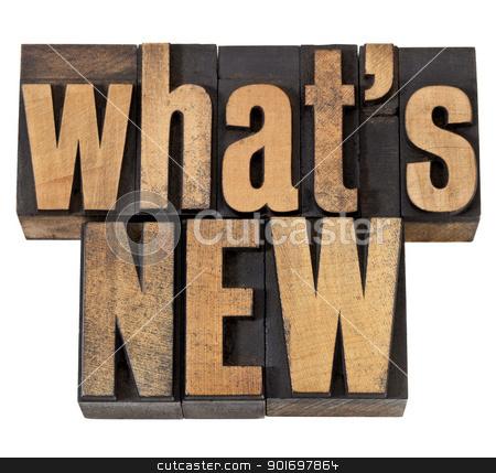what is new in vintage wood type stock photo, what is new - news concept - isolated phrase in vintage letterpress wood type by Marek Uliasz