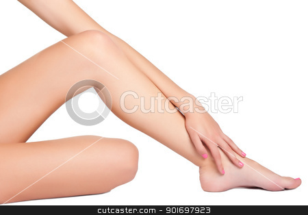 Female Legs stock photo, Woman's legs isolated on a white background by ruigsantos