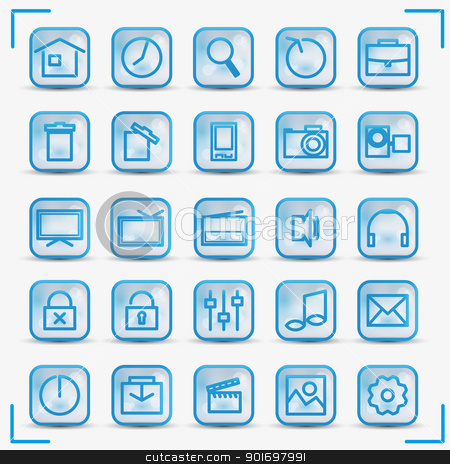 icons 3 stock vector clipart, Blue icons set for internet and media by Miroslava Hlavacova