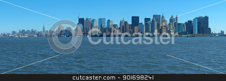 manhattan panorama stock photo, blue manhattan panorama photo taken from ellis island by Robert Remen