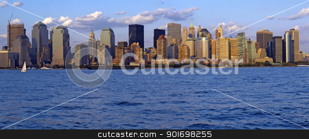 lower manhattan panorama stock photo, lower manhattan panorama, financial district, photo taken from jersey city by Robert Remen