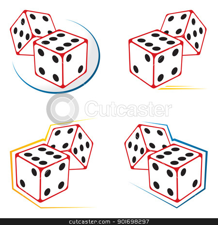 Dices icons stock vector clipart, Set of dices symbols isolated on white by Oxygen64