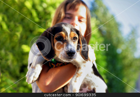 A child holding a dog stock photo, A child holding a dog by photography33