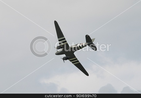 Douglas C47 Dakota aircraft stock photo, A Douglas C47 Dakota aircraft gives a display at Tenterden in Kent, England on May 19, 2012. Built in March 1942, ZA947 now forms part of the Battle of Britain Memorial Flight. by newsfocus1