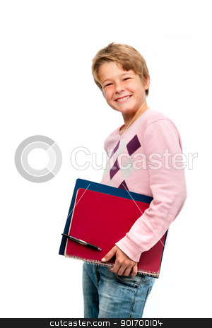 Portrait of young student holding notebooks stock photo, Portrait of young smiling student holding notebooks isolated on white background by karel noppe