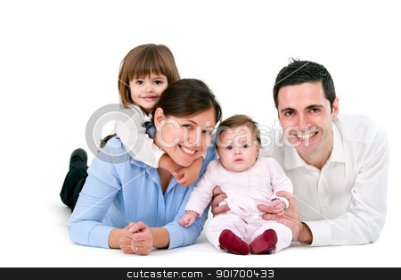 Happy family isolated on white stock photo, Portrait of young couple having fun with their daughters. Isolated on white background. by karel noppe