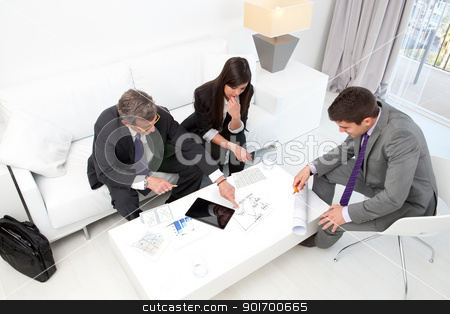 Business people at financial meeting. stock photo, Business people at financial meeting with documents and tablet on table. by karel noppe