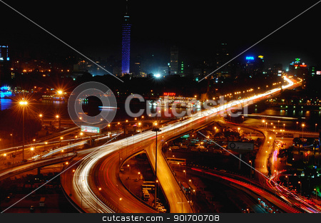 Night scenes of Cairo, Egypt stock photo, Night scenes of downtown Cairo, Egypt by John Young